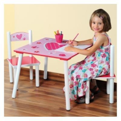 Table et deux chaises pour chambre d'enfants - Ensemble mobilier pour chambre fille - coeurs