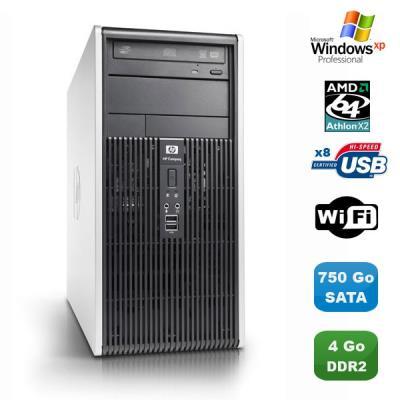 Marque : HP Compaq Gamme : DC Modèle : DC5850 Format : Moyenne Tour Processeur : Processeur AMD Athlon 64 X2 5000B 2.60Ghz - 2 coeurs - Cache : 512Ko (x2) - Socket AM2 Mémoire Vive : 4Go - DDR2 Disque dur : 750Go SATA Lecteur optique : Graveur DVD Contrôl