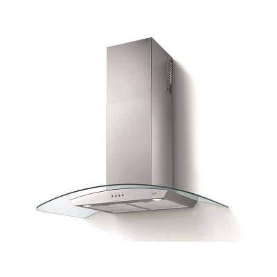 Glem Soft GHS910IX - Hotte - hotte décorative - largeur : 90 cm - profondeur : 50 cm - evacuation & recyclage - inox et verre