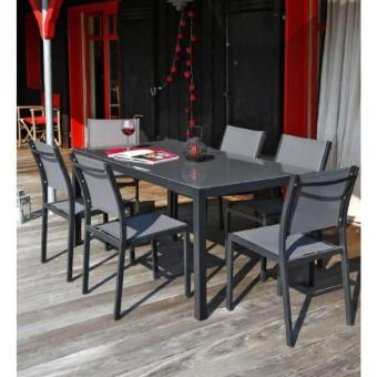 Ensemble table de jardin 180 + 6 chaises aluminium gris ...