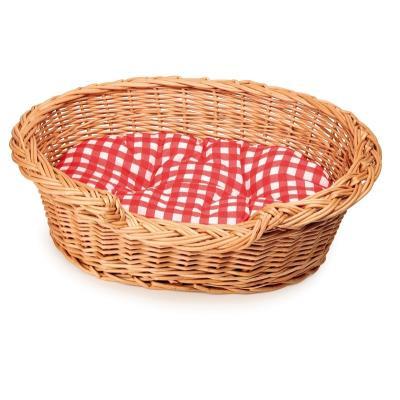 Joli panier oval en osier de 30 cm par 22cm pour que vos enfants offrent à leur peluche un panier comme pour de vrai Ce panier à chien est vendu avec son coussin à carreaux rouge et blanc. Un jouet en osier de la marque EGMONT TOYS Belgique