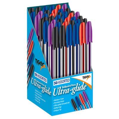 Tiger - Ensemble de stylos à bille Ultra Glide (Box de 50) (Noir / bleu / violet / rouge) - UTSG14704