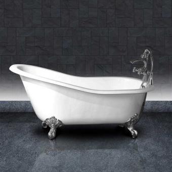 Baignoire En Fonte Petite Taille Ashford 156 Cm Blanche Et Pieds