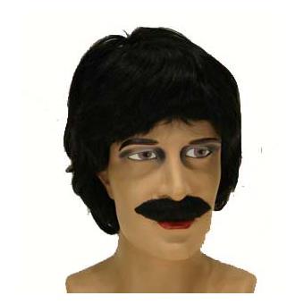 Perruque homme noir avec moustache