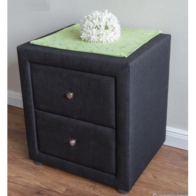 Table de chevet en tissu coloris noir - Dim : H 47 x L 53 x P 41 cm -PEGANE-