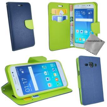 Housse etui coque pochette portefeuille pour Samsung Galaxy J3 (2016) - BLEU / VERT