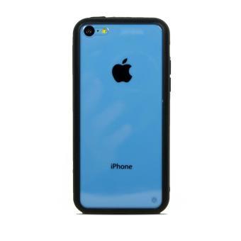 Coque Apple iPhone 5C Bumper Houe hybride Contour Souple Vitre Arriere rigide Coloris Noir Ordica France