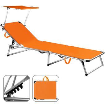 Aluminium En Réglable Chaise Orange Longue Avec De Parasol Jardin OPiXukZ