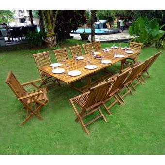 Salon de jardin en teck grande taille - table 300 cm - Mobilier de ...