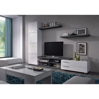 adhara meuble tv mural 240 cm blanc gris meuble tv achat prix fnac. Black Bedroom Furniture Sets. Home Design Ideas
