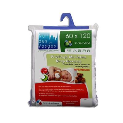Nuit des vosges 2035445 céline protège matelas imperméable bébé coton blanc 60 x 120 cm