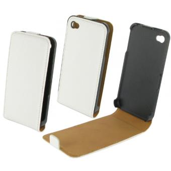 Etui Coque de Protection en Cuir avec Rabat Blanc iPhone 4 4S pour le Apple iPhone 4