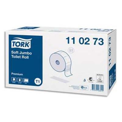 Colis de 6 Bobines de Papier toilette Maxi Jumbo Premium doux 2 plis L360 m x D26 cm blanc logo bleu
