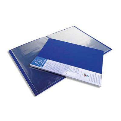 Lot de 12 Protège-documents UPLINE en polypropylène opaque. 80 vues, 40 pochettes. Coloris bleu
