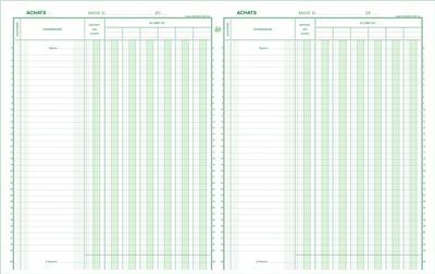 Piqûre Exacompta Achats 32x25cm vertical 6D/6C 33 lignes 80p