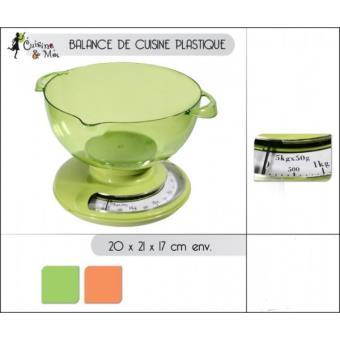 Balance De Cuisine 5Kg Mécanique Avec Bol - Couleur Vert Ou Orange ...