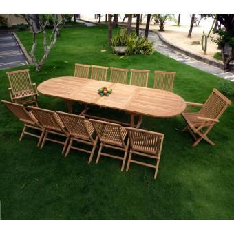 salon en teck pour le jardin, table grande taille 3 mètres ...