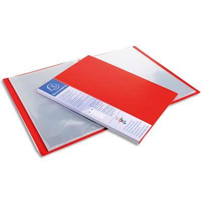 Lot de 12 Protège-documents UPLINE en polypropylène opaque. 80 vues, 40 pochettes. Coloris rouge