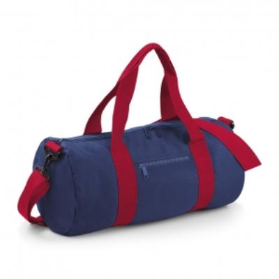 Sac de voyage toile - 20 L - Varsity Barrel Bag - BG140 - bleu marine et rouge