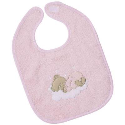 Easy baby bavoir avec attache en velcro motif ourson endormi rose