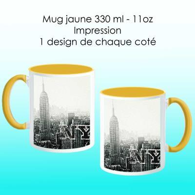 Mug jaune avec design New York city