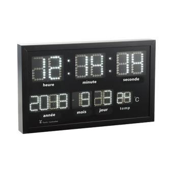 Horloge murale radio-pilotée à LED blanches - Achat & prix | fnac