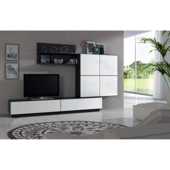 lue meuble tv mural 250 cm blanc noir achat prix fnac. Black Bedroom Furniture Sets. Home Design Ideas