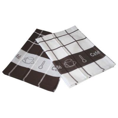 linge décor 1730178 lot de 2 torchons imprimé café jacquard coton blanc 50 x 70 cm