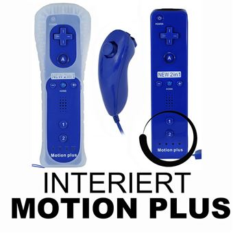 outlet boutique outlet store sale new list 2en 1 Manette Wiimote Controller intégré Motion Plus Nunchuk compatible  avec Nintendo Wii bleu