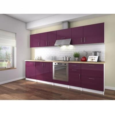 La cuisine complete NEO coloris laqué aubergine haute brillance est composée de 10 éléments pour une dimension totale de 3 metres. Le plan de travail est inclus (épaisseur 32mm décor bois), et les façades sont laquées sur MDF 16mm. Fabrication Européenne