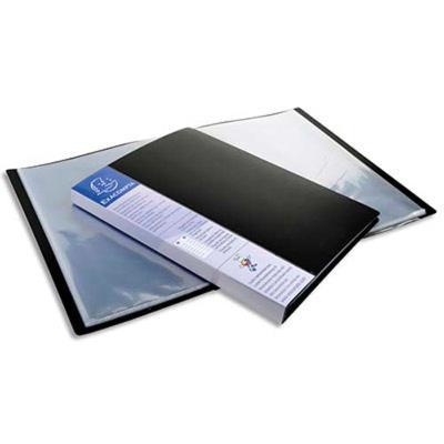 Lot de 12 Protège-documents UPLINE en polypropylène opaque. 80 vues, 40 pochettes. Coloris noir