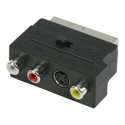 Adaptateur de commutation PÉRITEL AV avec adaptateur PÉRITEL mâle – 3 RCA femelles + S-Vidéo femelle