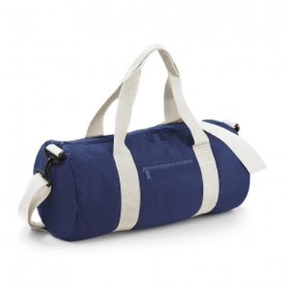 Sac de voyage toile - 20 L - Varsity Barrel Bag - BG140 - bleu marine et blanc