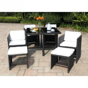 Salon de jardin 1 table, 4 fauteuils et 2 repose-pieds en résine ...