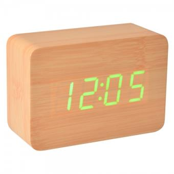 reveil bois led naturel radio r veil achat prix fnac. Black Bedroom Furniture Sets. Home Design Ideas