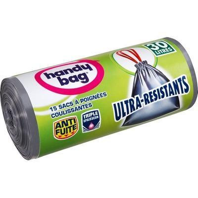 Sac poubelle HANDY BAG 30L à poignées ultra résistant