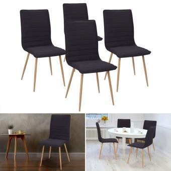 Chaises X4 Polga capitonnées tissu noir pour salle à manger - Achat ...