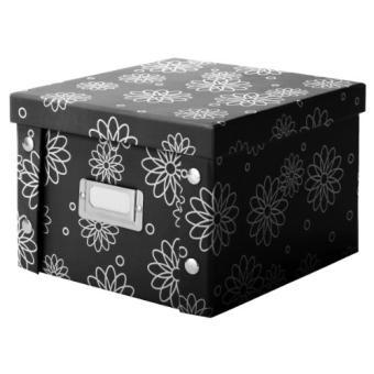 Zeller 17881 Boite De Rangement De Dvd En Carton Design Floral Noir 21 5 X 20 5 X 15 Cm Poubelle Achat Prix Fnac