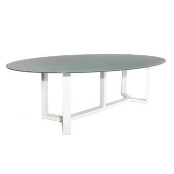 Table alu blanc et verre gris 260 x 130 cm catanzaro ...