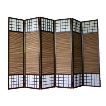 Paravent japonais en bois avec bambou de 6 Panneaux -PEGANE- Achat ...