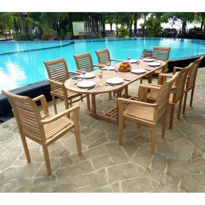 salon de jardin en teck brut - 8 fauteuils empilables