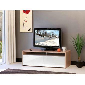 SUN Meuble TV 120cm coloris chene et blanc laqué - Meuble TV - Achat ...