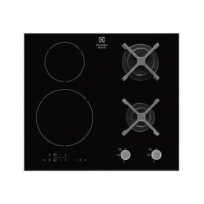 Electrolux EGD6576NOK - Table de cuisson mixte induction et gaz - 4 plaques de cuisson - Niche - largeur : 56 cm - profondeur : 49 cm - noir