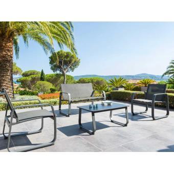 Salon de jardin Gili Gris anthracite - Mobilier de Jardin - Achat ...