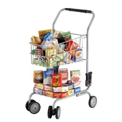 Bayer design - 75000s - jeu d'imitation - commerçant - chariot de supermarché avec différentes boîtes - 58 cm