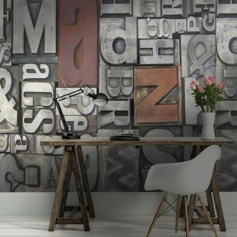 Papier peint industriel métal - e-papier-peint.com - Gris ...