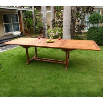 Table de jardin XXL en teck huilé - double rallonge papillon 200-300 ...