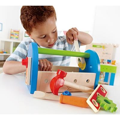 Hape construction - 3602453 - jeu d'imitation - caisse à outils avec marteau - tournevis - vis - en boîte - 30 x 12 x 5 cm