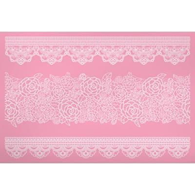Kitchen craft de 40 x 27 cm, grand sweetly does it poche à douille silicone tapis bordure en dentelle rose