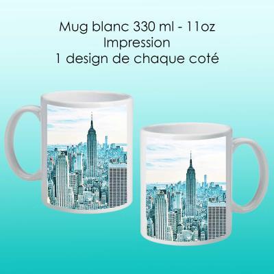 Mug blanc avec design New York bleu